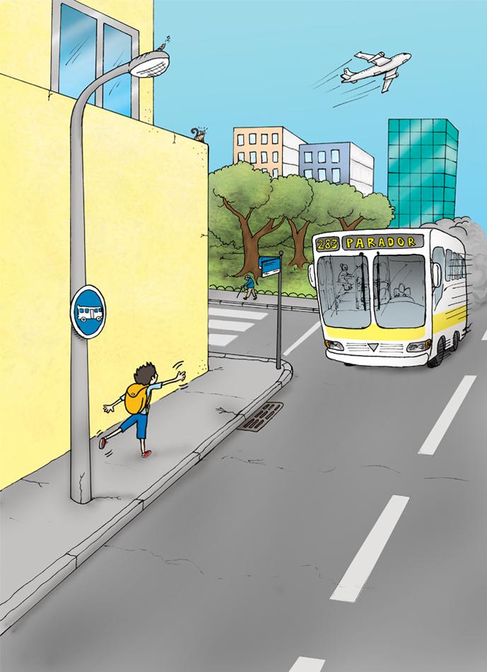 Pegando um ônibus para casa